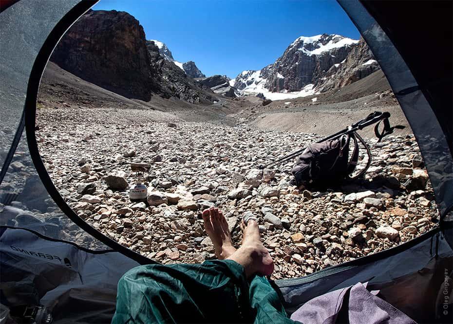 vue matinale depuis sa tente