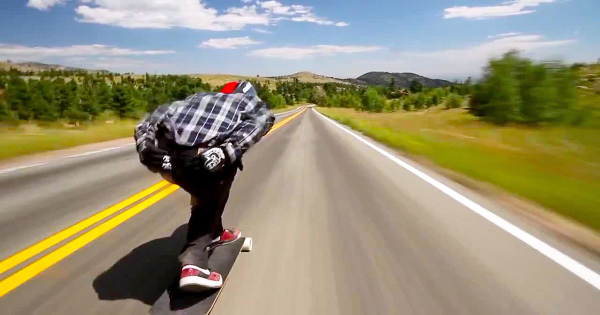 Downhill at 70mph on a skateboard
